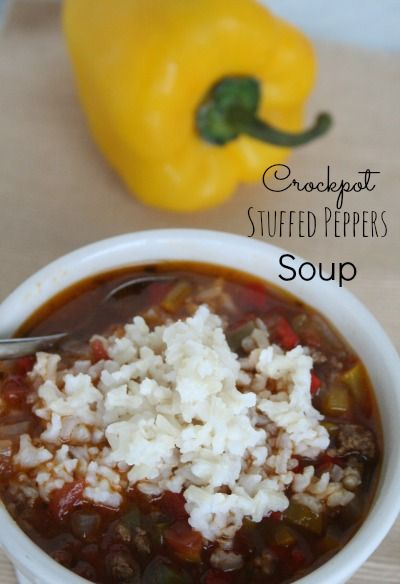 Crockpot Stuffed Peppers Soup - tastes amazing and so easy to make! Kids love it!