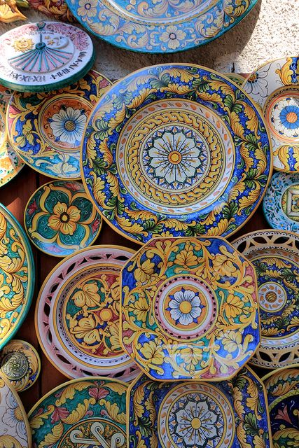 "Sicilian Ceramics---I CAN""T STAND PLAIN DISHES..mine are awesome...but, I only 4 settings, which is fine for there is just the two of us :)"