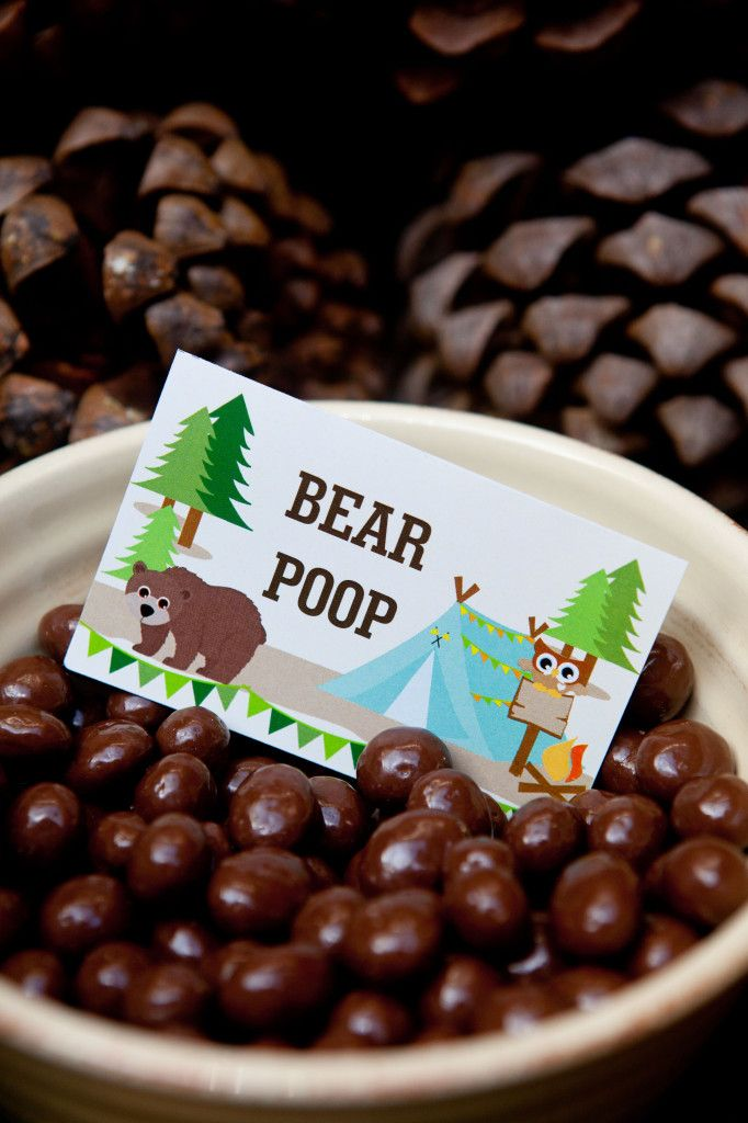 Bear Poop Camping Party Food Labels from SunshineParties on Etsy... https://www.etsy.com/listing/195651457/camping-tent-party-full-printable-set?ref=cat_gallery_19&ga_ref=search_shop_redirect&ga_search_type=all&ga_view_type=gallery