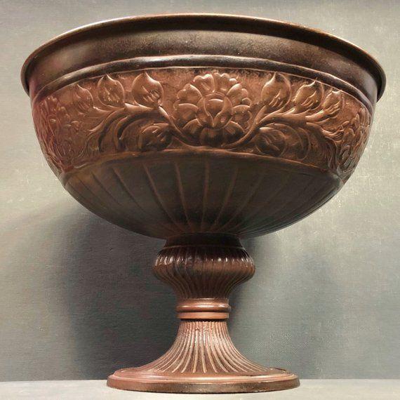 Vintage Bronze Bowl Large Pedestal Bowl Fruit Bowl Punch Vintage Bronze Bronze Vintage Planters