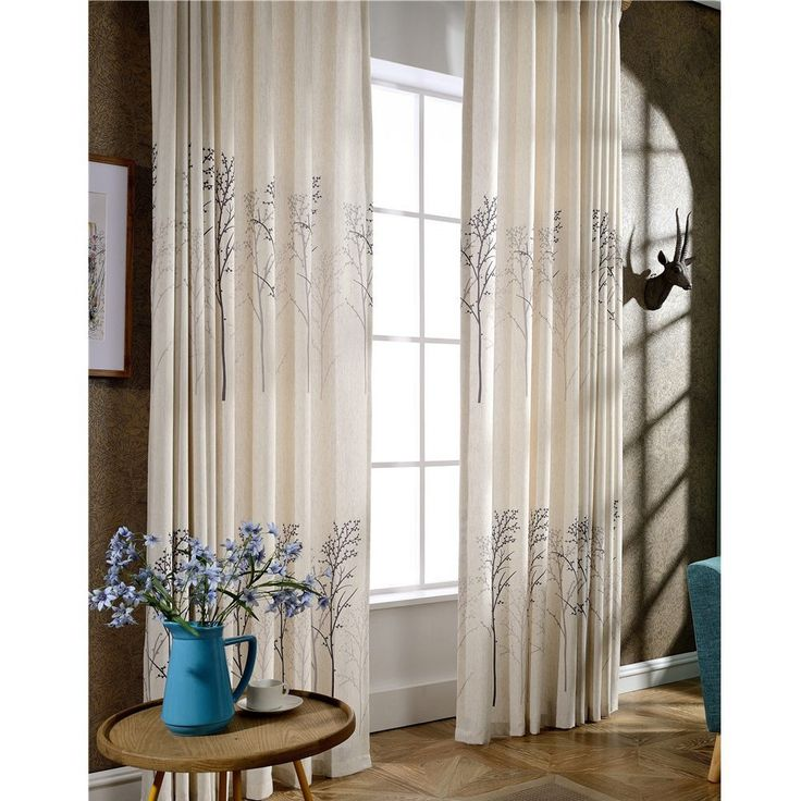 KoTing Home Fashion Cream White Cotton Linen Modern Plain Colored Concise Tree Print Thermal Insulated Blackout Lined Curtains Drapes Grommet Top,1 Panel,50 by 96-Inch