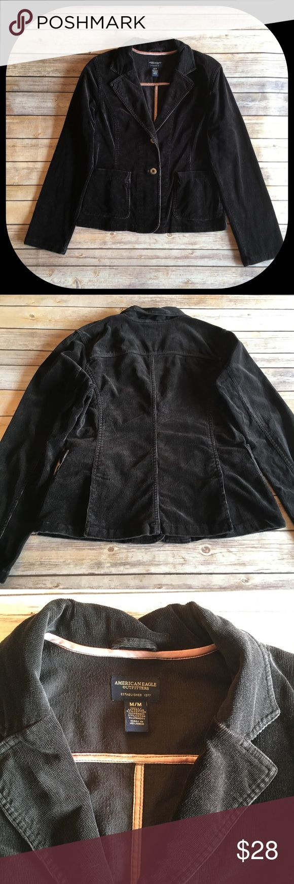 American Eagle Outfitters Corduroy Blazer Black corduroy blazer with two pockets American Eagle Outfitters Jackets & Coats Blazers