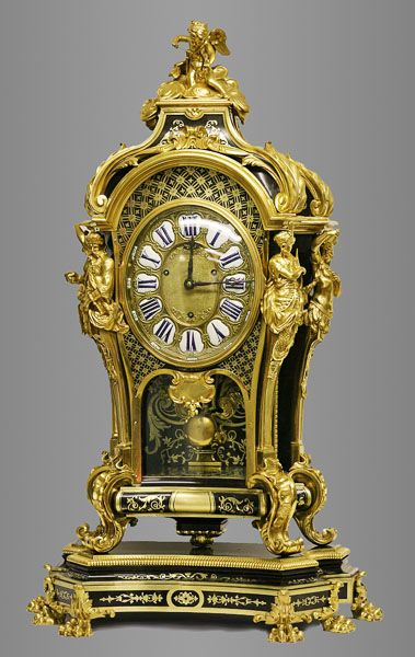 Rare French Louis XIV Style Ormolu and Boulle Mantle Clock. This and more important fine art for sale on CuratorsEye.com