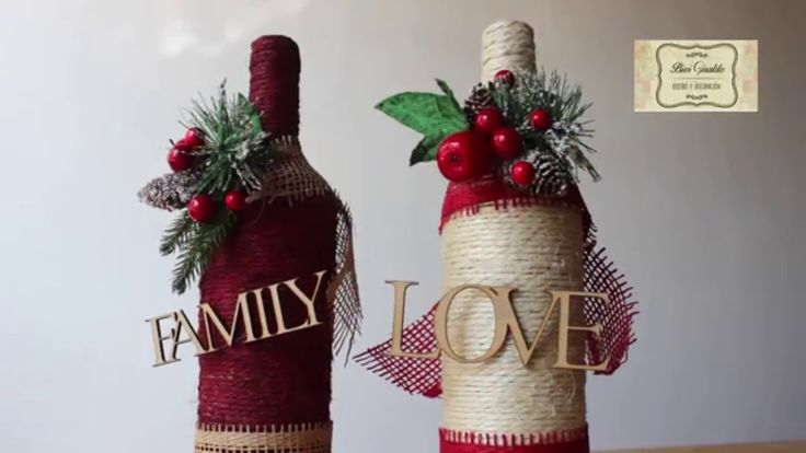 Manualidades para navidad botellas decoradas con cabuya for Botellas de vidrio decoradas para navidad