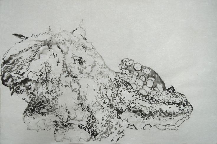 Octopus:Indian Color on Korean paper 2011, It was drawn by Dahae Ji. g.daz #gda#ink#painting#korean#artist#dahaeji