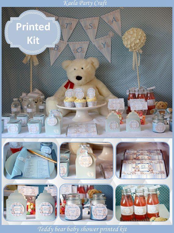 Blue teddy bear baby shower decoration #teddybearbabyshower #babyshowerdecoration