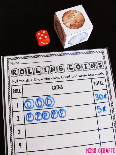 Teaching Money - Roll the coin dice and a regular dice to tell you how many of each coin to add together - such fun practice!!! Or roll twice for each line to add 2 coin sets.. love!