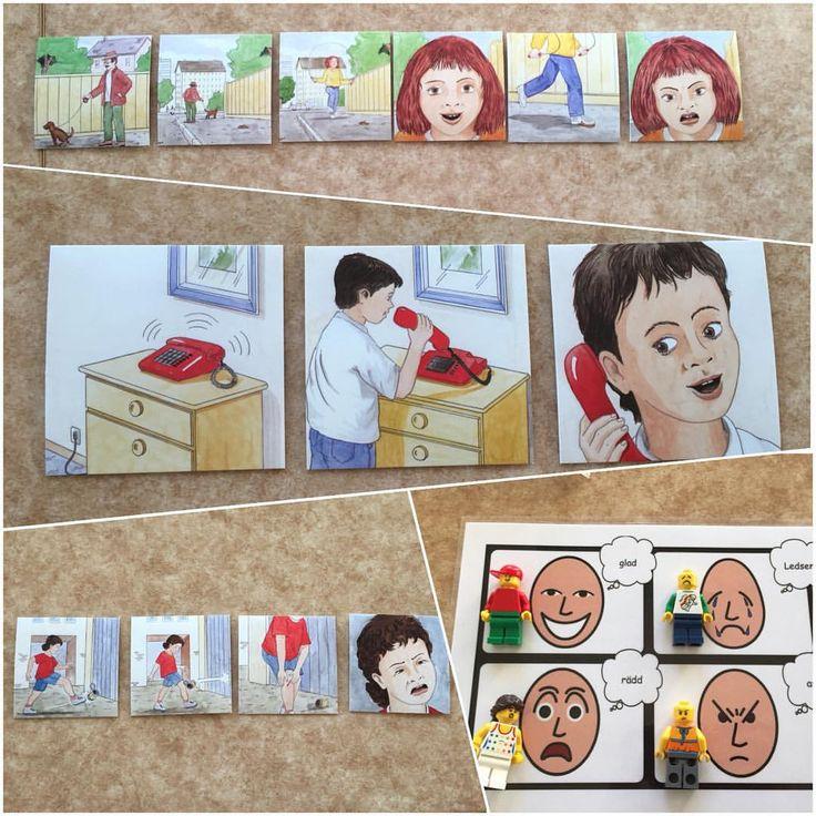 Här jobbar vi med händelseförlopp och känslor. Barnen är med och funderar ut i vilken ordning förloppet sker och vilken känsla som kan tänkas passa till. Vi har både bildstöd och legogubbar som visar olika känslor. Allt för att göra stunden tillgänglig för fler lärstilar plus att vi ofta har barn som älskar lego och bygger vi aktiviteter på intresse så ökar motivationen och förståelsen enormt. #förskola #utvecklingochlärande #sekvensbilder#lustfylltlärande…