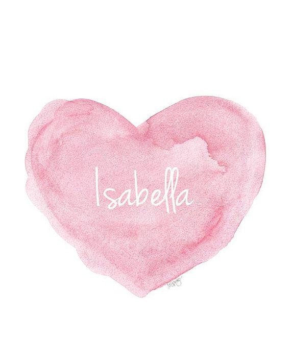 Pink Nursery Art 11x14 Personalized Name Watercolor Heart Newborn Girl Shabby Chic Style Nursery Design Shower Gift Custom Name New Baby