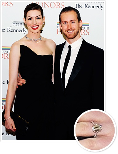 Anne Hathaway and Adam Shulman  Actor Adam Shulman popped the question to Anne Hathaway in 2011 with a 6-carat emerald-cut diamond ring by New York jewelry company Kwiat.