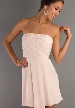 Chiffon Strapless Semi Formal Dress How great would this be to wear as a guest to a wedding!