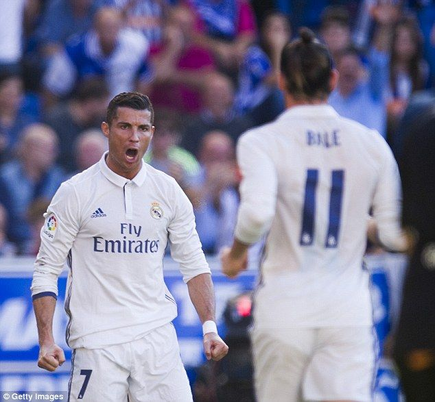 Cristiano Ronaldo and Gareth Bale celebrate a goal for table-topping Real Madrid
