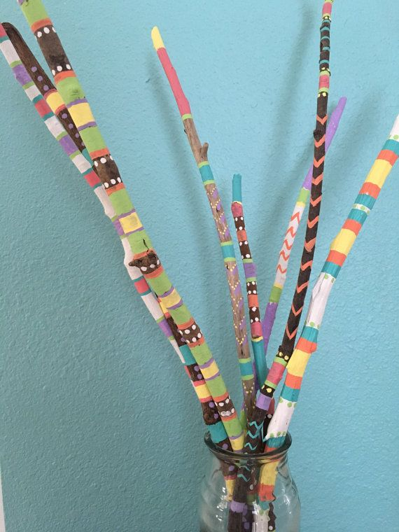 Painted driftwood hand painted sticks