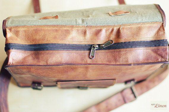 """Leather Messenger Bag 15"""" / Air Plane Cabin Bag / Briefcase / Handbag / Satchel / Shoulder Bag / iPad / Hip Bag by EpicLinen"""