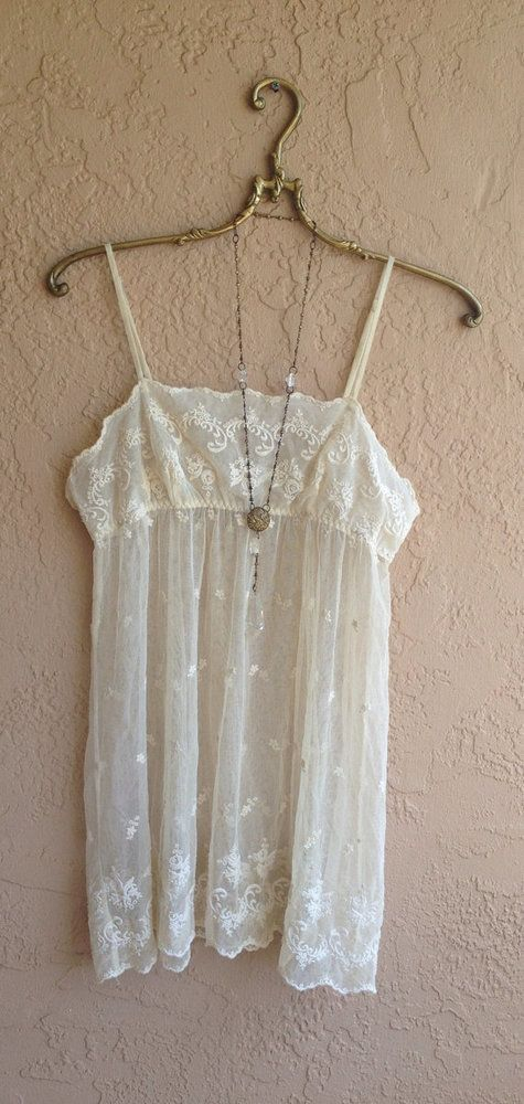 Image of Romantic Ivory vintage lace tunic  sheer embroidered floral bohemian hippie gypsy goddess bride