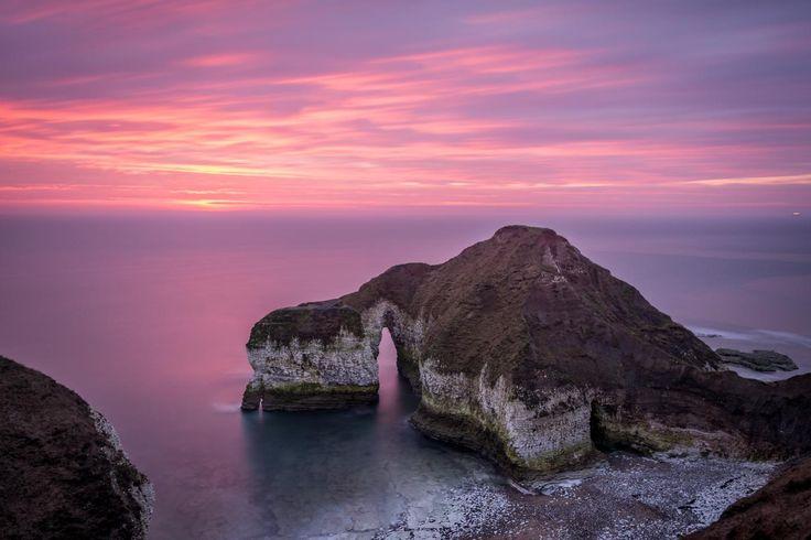 A wonderful pink sunrise at Flamborough, East Yorkshire, UK.
