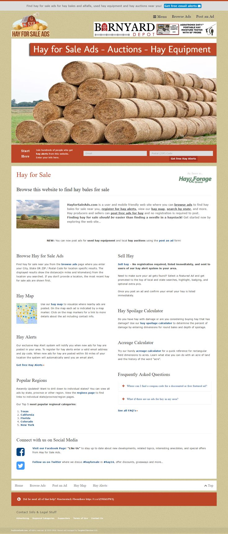 Hay for Sale Ads is a website where users posts free and paid ads for hay bales, hay auctions, and haying equipments for sale.