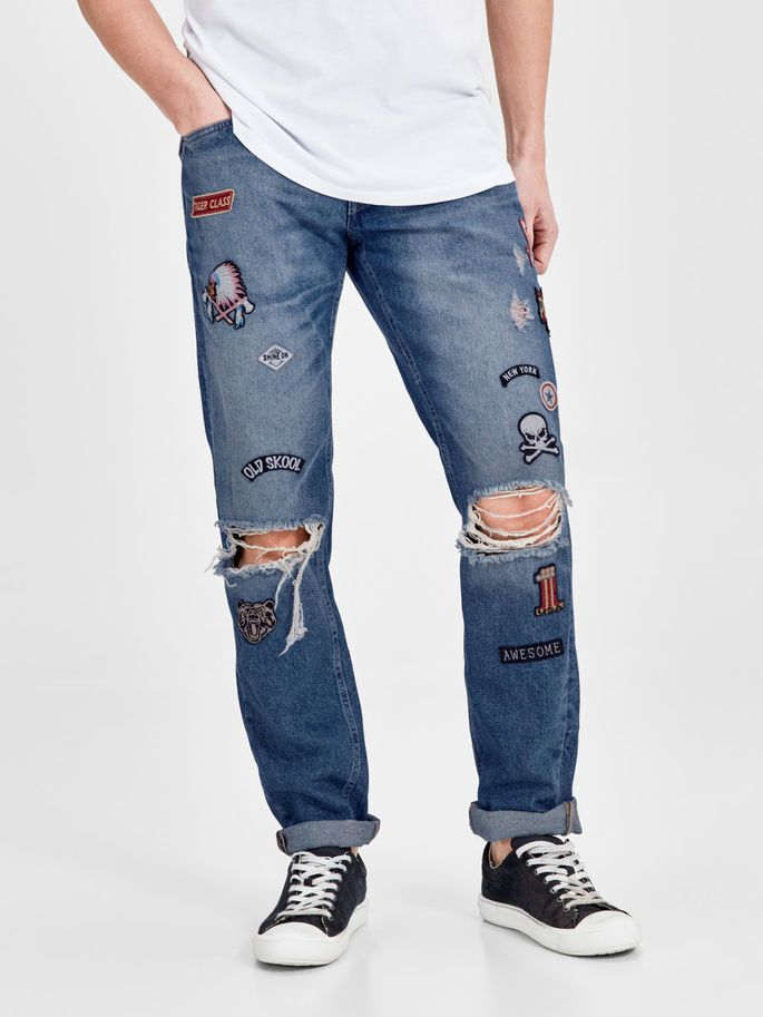 Comfort fit blue denim jeans with patches, badges, ripped jeans and cuffed ankles for an authentic denim look - MIKE ORIGINAL JOS 679 | JACK & JONES