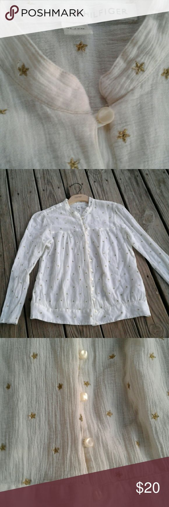 Tommy Hilfiger Metallic Stars Shirt Nice metallic stars cream and gold shirt.  100% cotton but a gauzy romantic style. Tommy Hilfiger Tops Blouses