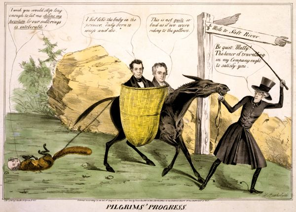 Political Cartoon Titled Pilgrims Promise That Shows Andrew Jackson Leading The Democratic