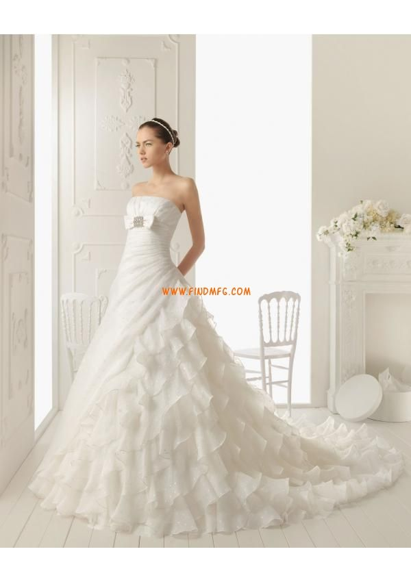 Glamorous plissada corpete Catedral Trem vestido de noiva de organza