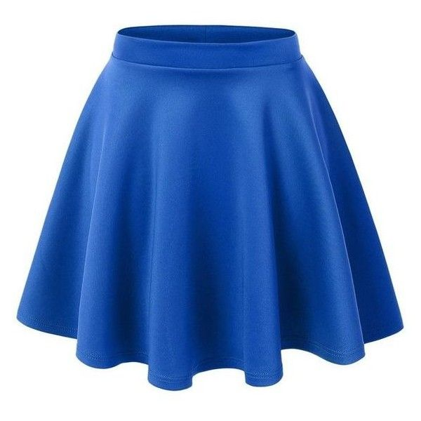 MBJ Womens Basic Versatile Stretchy Flared Skater Skirt ❤ liked on Polyvore featuring skirts, blue skirt, skater skirt, knee length skirts, knee high skirts and circle skirts