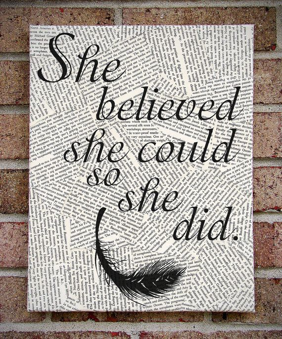 """Quote Wall Art: """"She Believed She Could So She Did"""" Canvas Art / Prints on Canvas"""