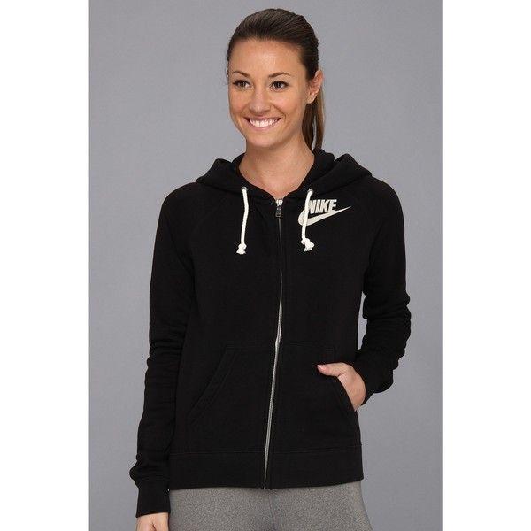Nike Rally Full-Zip Hoodie Women's Sweatshirt, Black ($50) ❤ liked on Polyvore featuring tops, hoodies, black, sweat shirts, full zip sweatshirt, nike sweatshirt, black hooded sweatshirt and sweatshirts hoodies