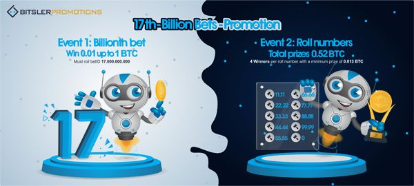 The 17 billionth bet will be rolled on BitSler.com today, with 1.52 #bitcoin in prizes!