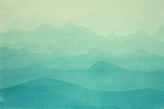 Large Painting. Nature. Mountains. Turquoise. Original by madareli, $57.00
