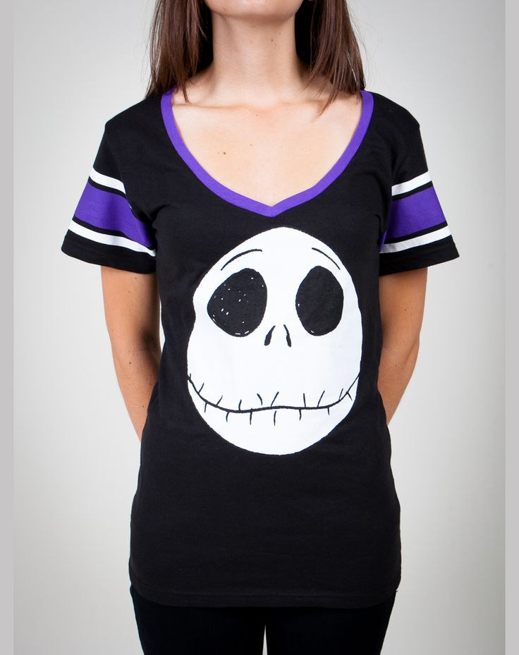 Nightmare Before Christmas 'Jack' V-neck Junior Fitted Tee.     I want in my size!