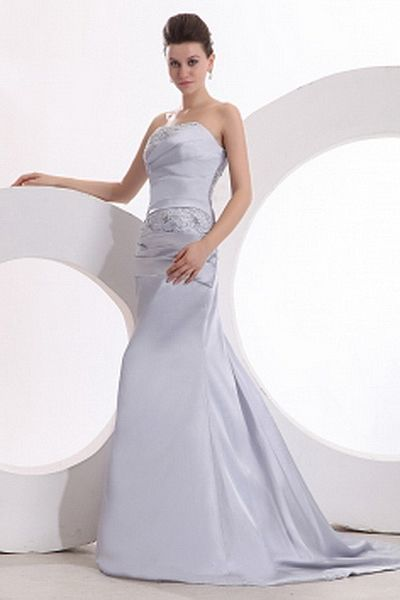 Strapless Satin Purple Bridesmaids Gowns ted2738 - SILHOUETTE: Trumpet/Mermaid; FABRIC: Satin; EMBELLISHMENTS: Beading , Draped; LENGTH: Court Train - Price: 98.3600 - Link: http://www.theeveningdresses.com/strapless-satin-purple-bridesmaids-gowns-ted2738.html