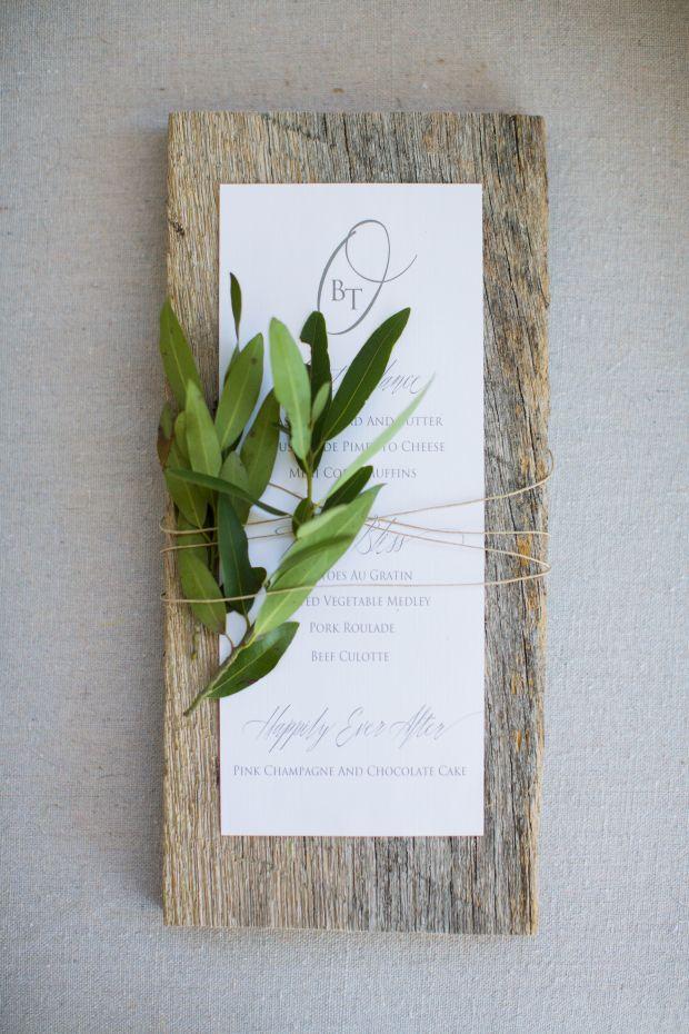 wood menu  Jennifer Laraia Designs www.jenniferlaraia.com