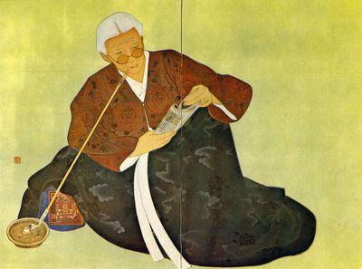 (Korea) Old Korean woman by Chun Kyung-ja (1924- 2015). 천경자.