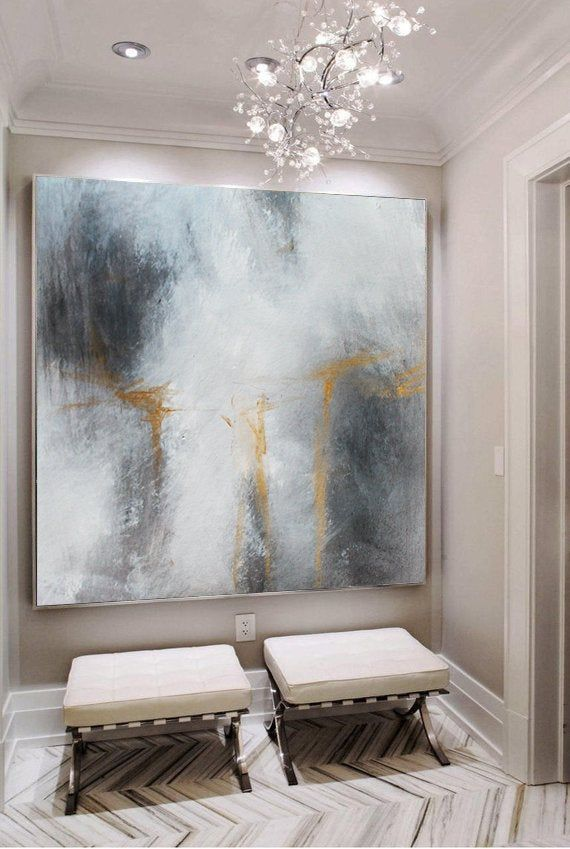 Neutral Abstract Painting Grey Large Art On Canvas Original Wall Art Black White Gray Gold Modern Abstract Black Wall Art Living Room Art Abstract Painting