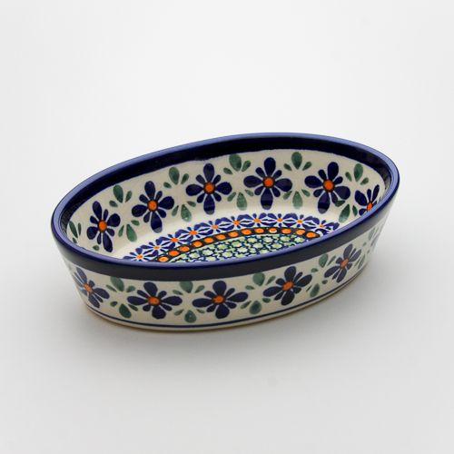 """φ16.0cm高さ 4.0cmZaklady Ceramiczne """"BOLESLAWIEC""""社製。オーブン皿(グラタン皿)・オーバル・ミニ[Z703-DU60]【ポーリッシュポタリー[ポーランド食器・陶器]】"""