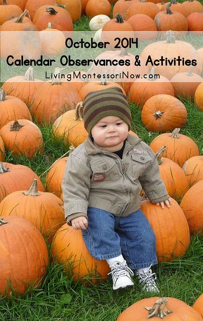 LOTS of calendar observances plus themed Montessori-inspired activities and unit studies throughout October.