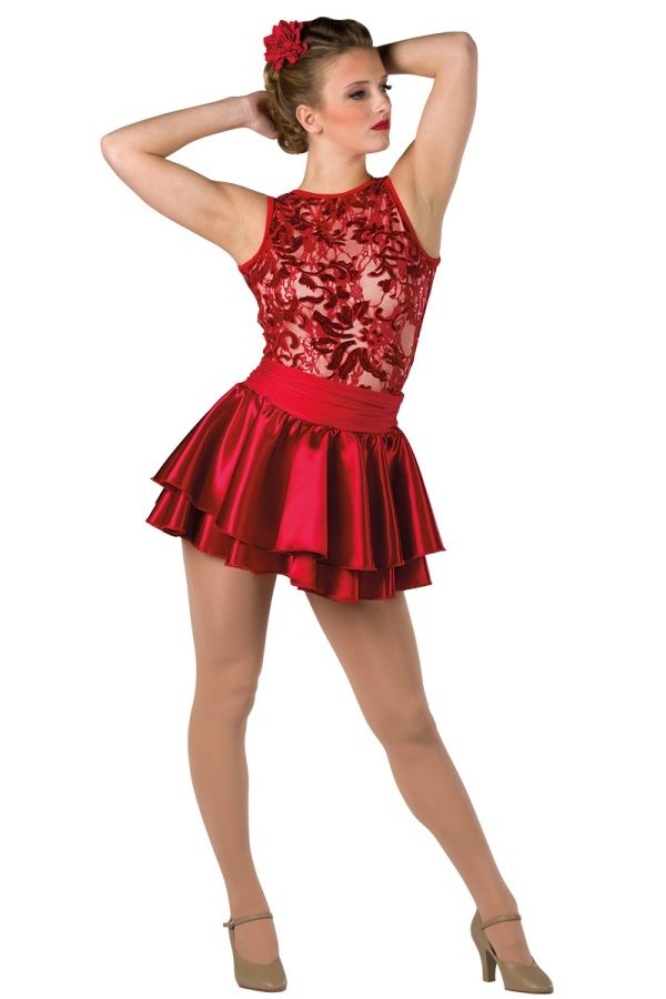 Style # 17253 LIPS ARE MOVIN' - RED  Sequined stretch lace over nude spandex and solid color spandex short unitard with attached satin skirt. Separate satin skirt with ruched spandex waistband. Spandex binding trim. Headpiece included. SC-XXLA