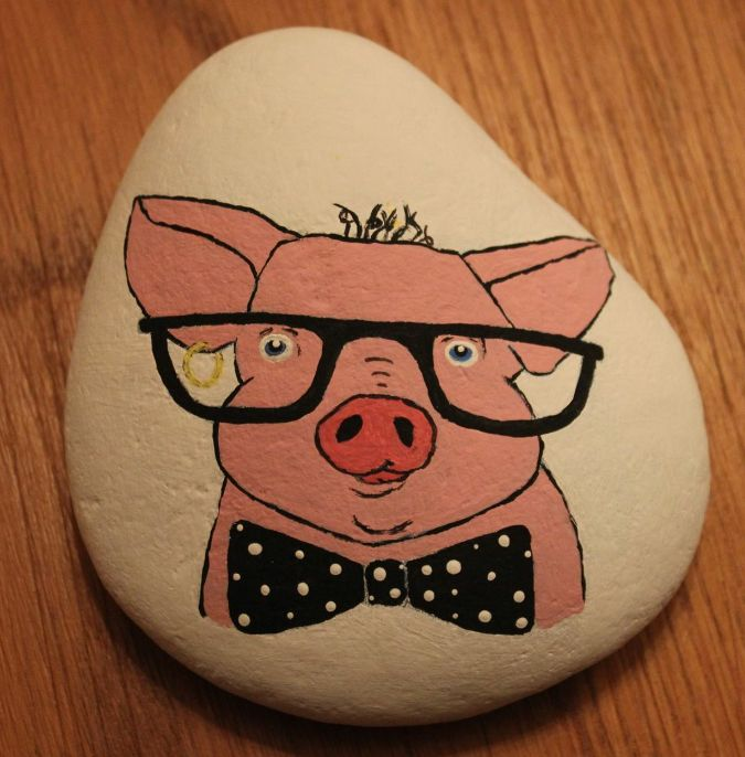 Cool Pig Painted Rock Painted Rock Animals Pig Painting Rock Decor
