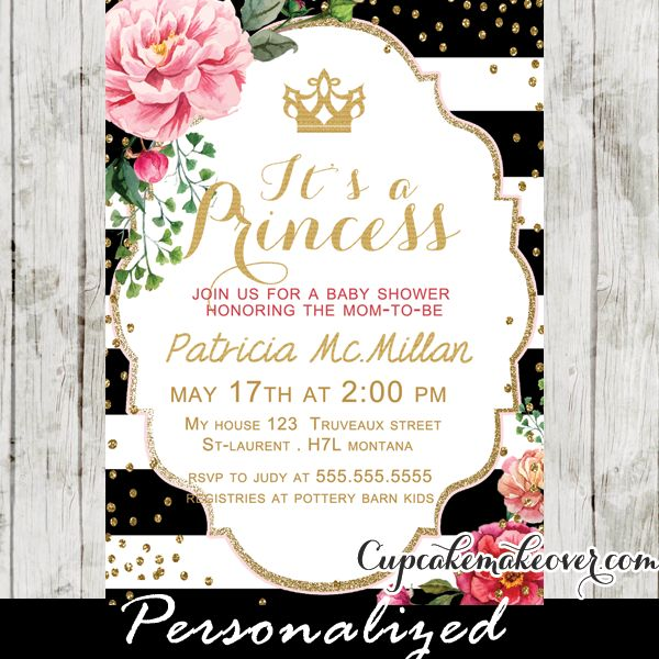 Celebrate the arrival of a new baby girl with this printable shabby chic floral princess crown baby shower invitation. This personalized royal princess baby shower invitation features an elegant golden crown against black and white stripes, pink floral blossom and gold confetti. #cupcakemakeover