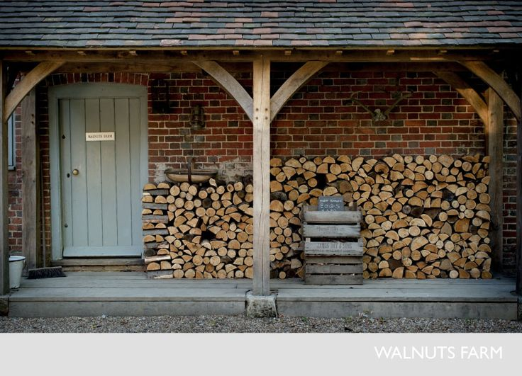 Fabulous log store...Walnuts Farm – Nick & Bella – the rustic shoot location house | EXTERIOR