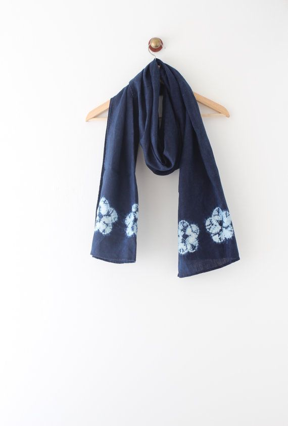 Natural Indigo Linen scarf Hand dyed scarf Shibori scarf by bySanz