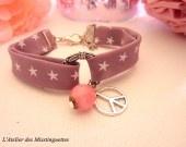 Bracelet en tissu peace and stars