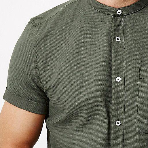 Green short sleeve grandad shirt