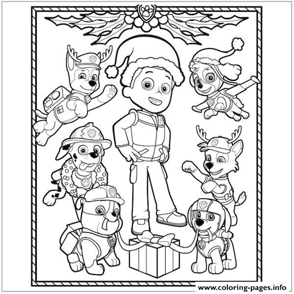 Paw Patrol Christmas Ryder Coloring Pages Printable And Book To Print For Free Find More Online Kids Adults Of