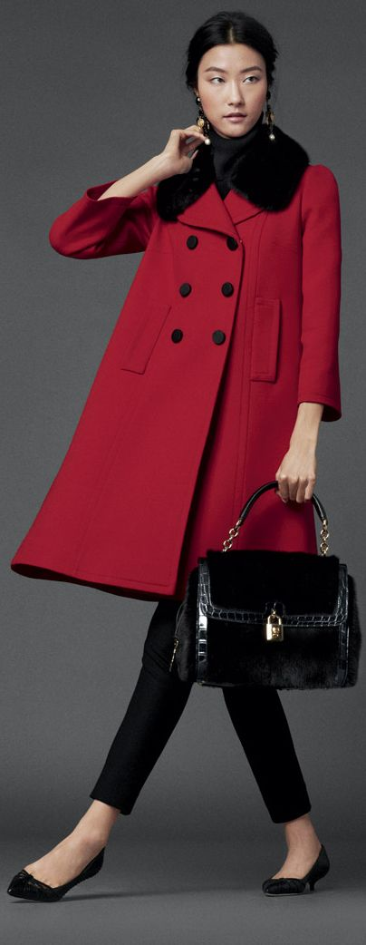 Dolce & Gabbana FW 2014 ~ I love a red coat with black velvet collar. I've owned two suits of red and black velvet trim.