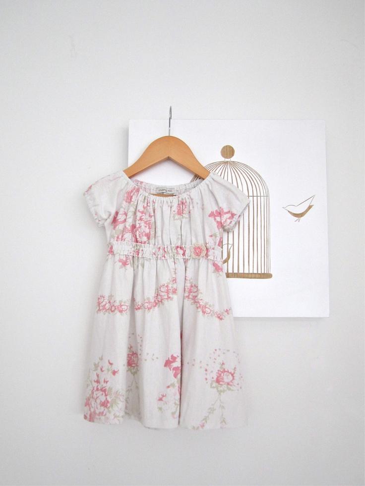 Girls Vintage Style Dress Shabby Chic White Linen Cotton
