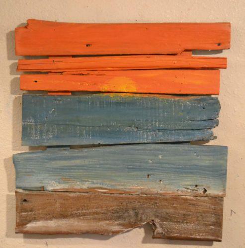 Beach art ocean sunset reclaimed barn wood abstract pallet for Pallet shabby chic