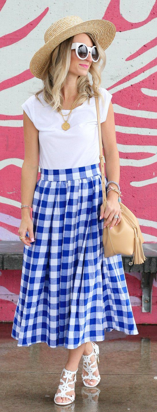#Fashion  Summer Style : #summer #outfits My Go-to Summer Picnic Skirt  And It's Under $20  // Light Hat ...