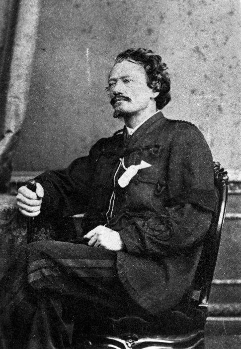 "Major Gustavus Ferdinand von Tempsky, age 40, 1868. Adventurer, soldier, artist, and according to Wikipedia, an ""amateur watercolorist."""